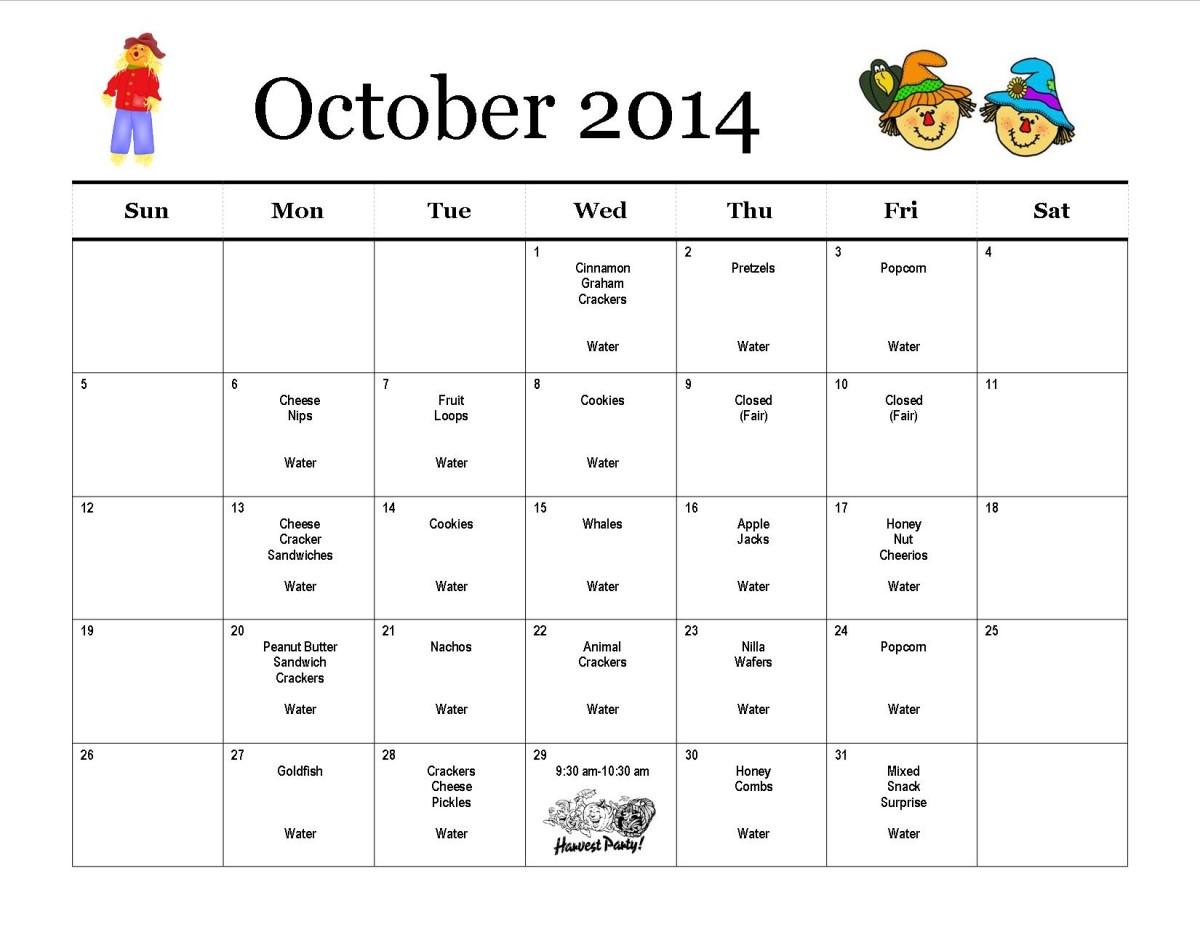 October Calendar Kindergarten : Monthly snack calendar preschool at trinity lutheran church