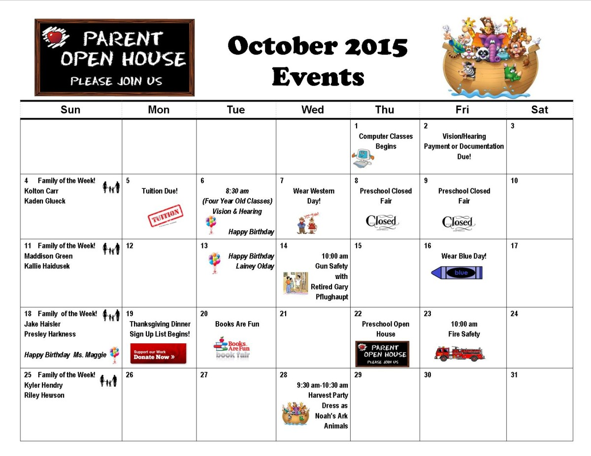 Monthly Calendar Of Events : Monthly event calendar preschool at trinity lutheran church